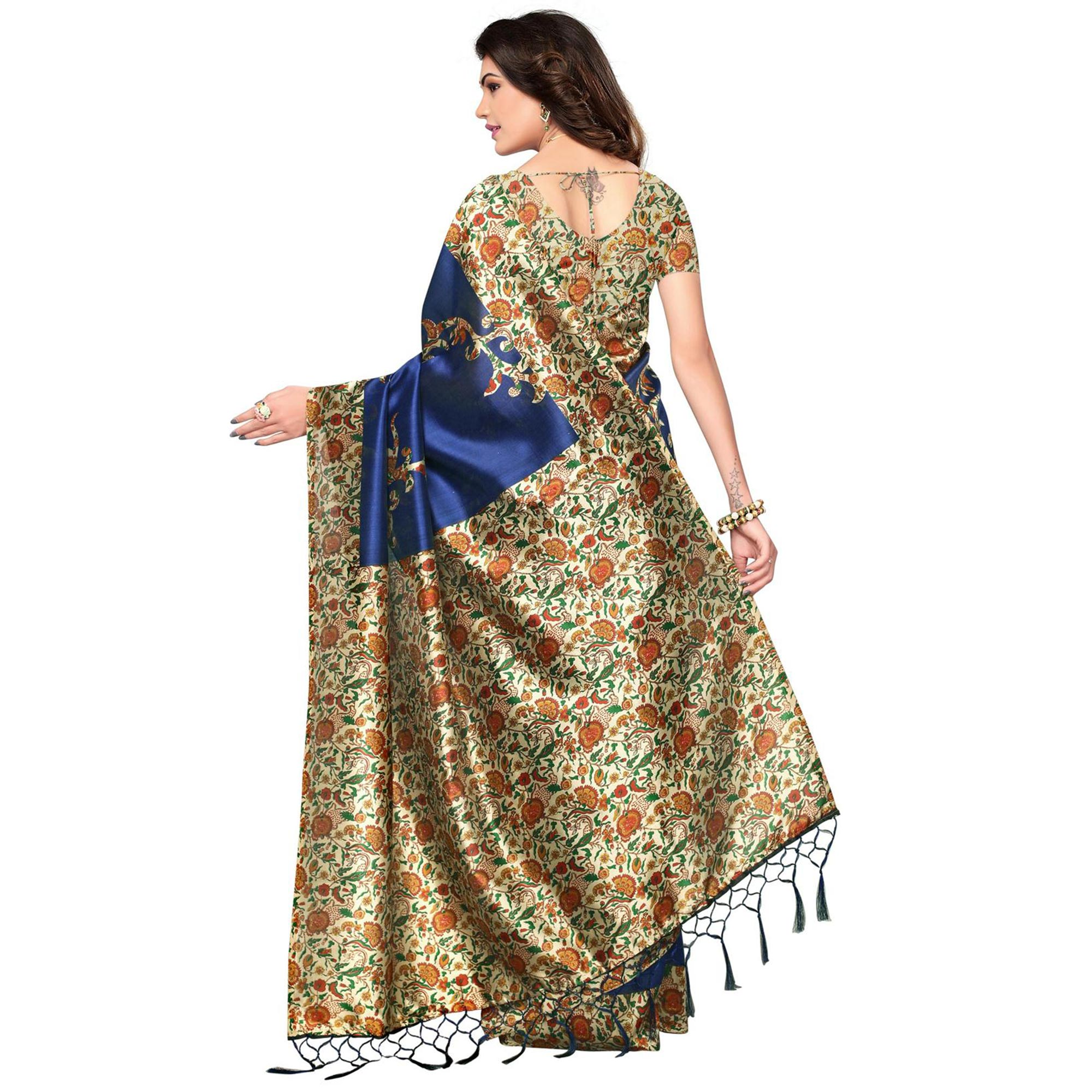 Lavish Navy Blue Colored Festive Wear Printed Mysore Art Silk Saree