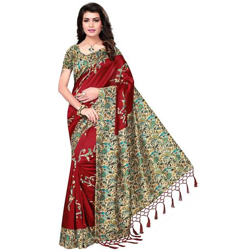 Impressive Maroon Colored Festive Wear Printed Mysore Art Silk Saree