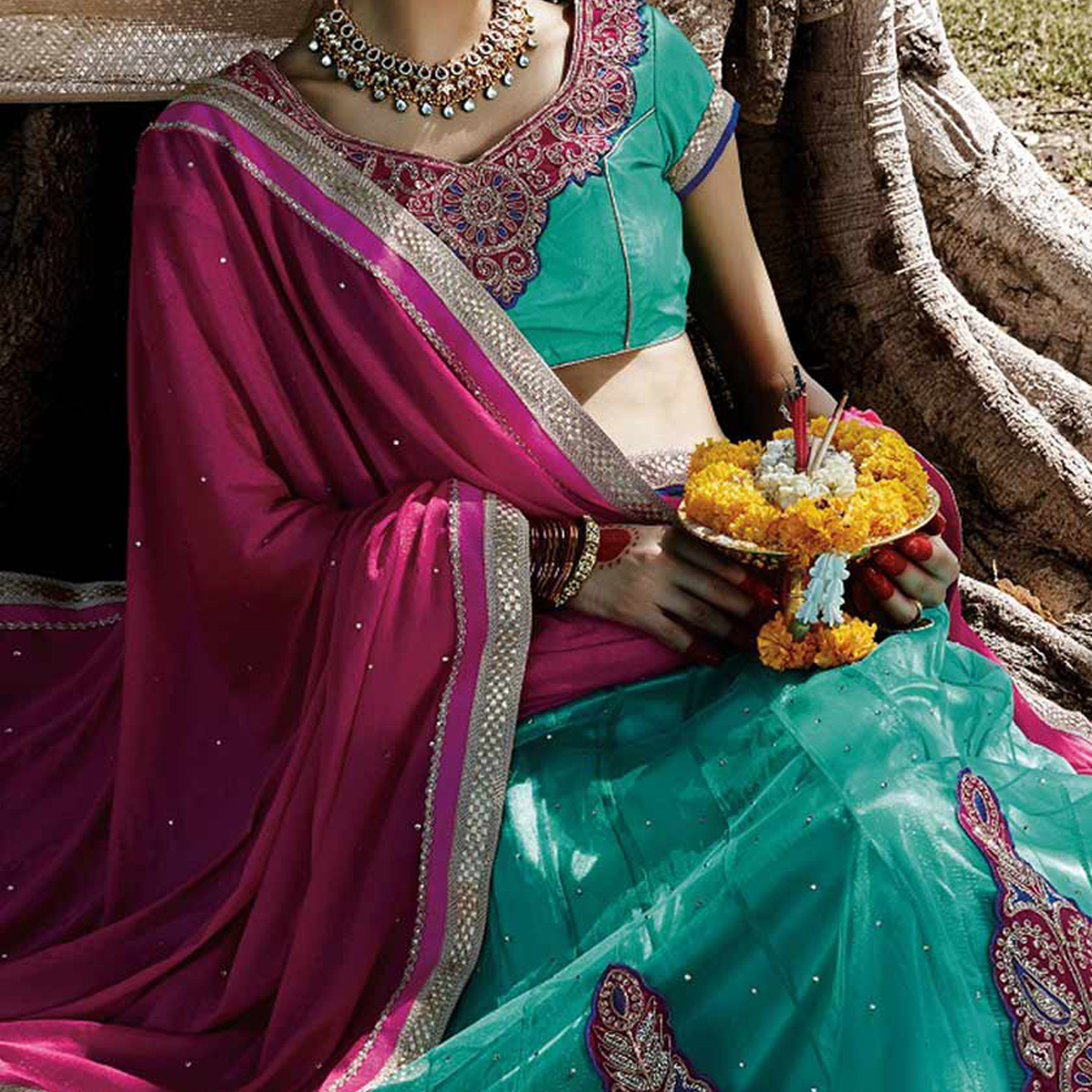 Aqua Blue - Rani Pink Embroidered Lehenga saree