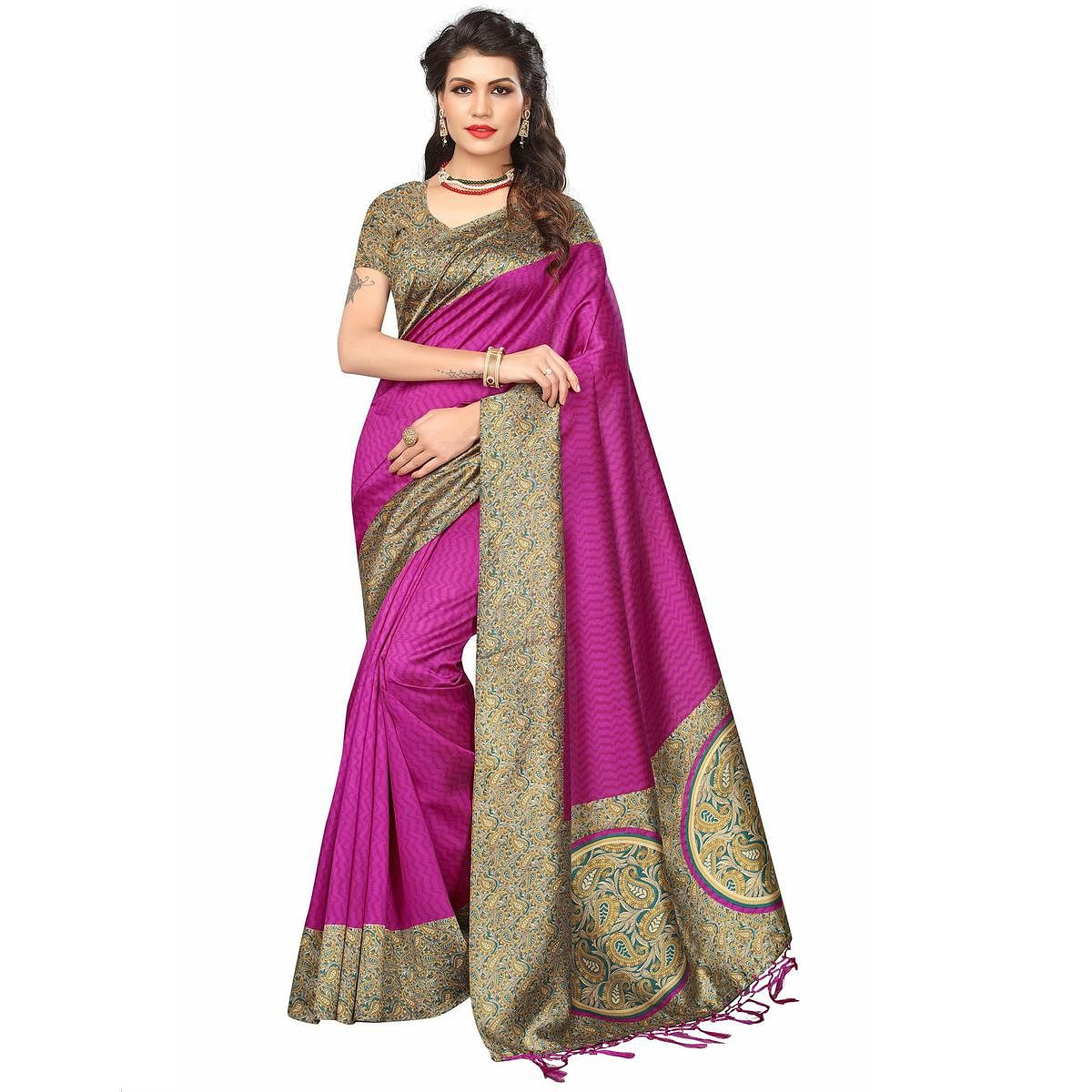 Appealing Rani Pink Colored Festive Wear Printed Mysore Art Silk Saree