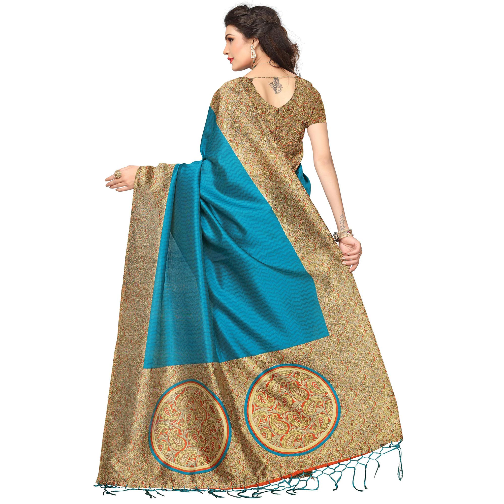 Entrancing Blue Colored Festive Wear Printed Mysore Art Silk Saree