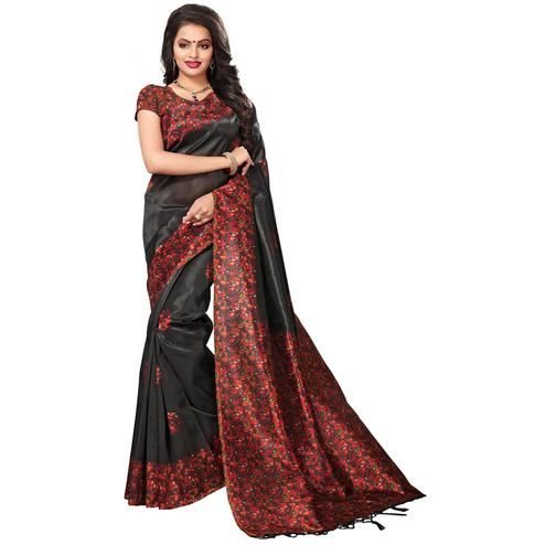Exceeding Black Colored Festive Wear Printed Mysore Art Silk Saree
