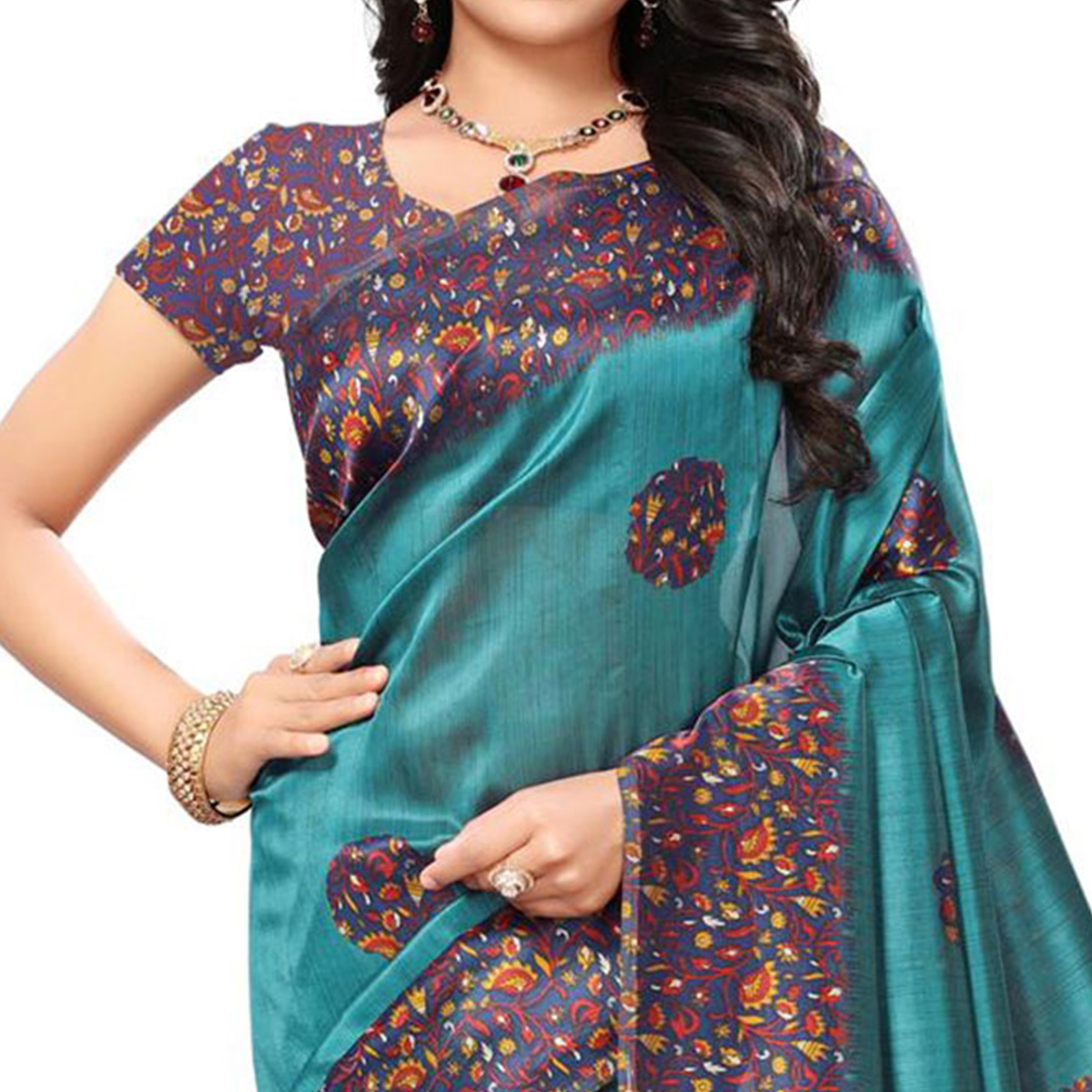 Marvelous Teal Blue Colored Festive Wear Printed Mysore Art Silk Saree