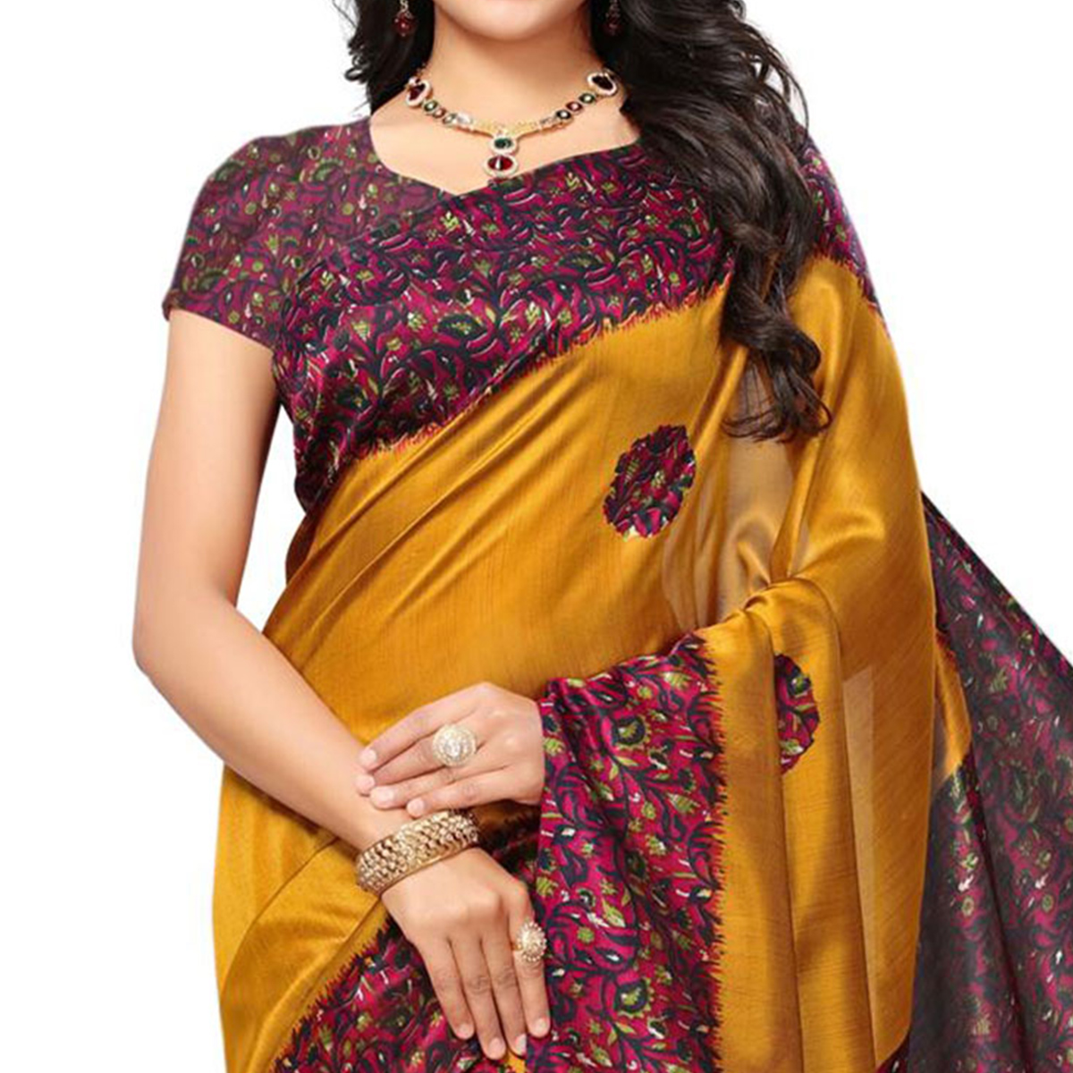 Engrossing Yellow Colored Festive Wear Printed Mysore Art Silk Saree