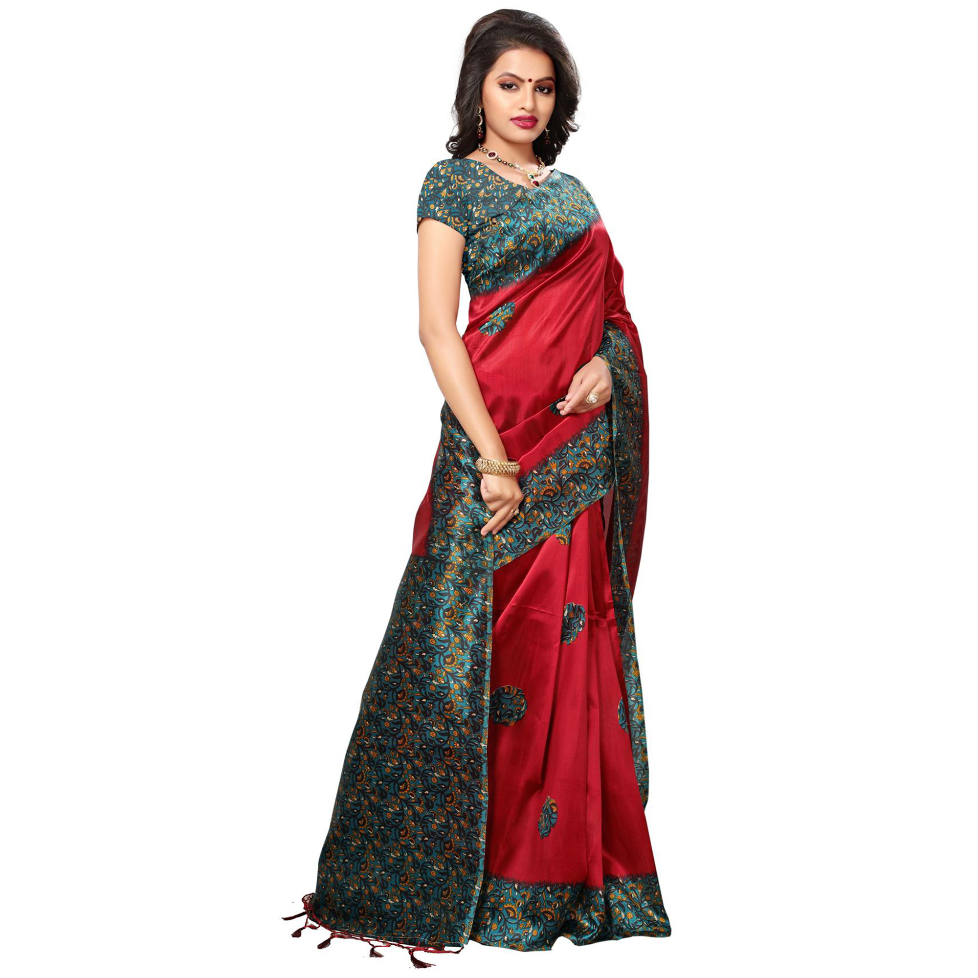 Staring Red Colored Festive Wear Printed Mysore Art Silk Saree