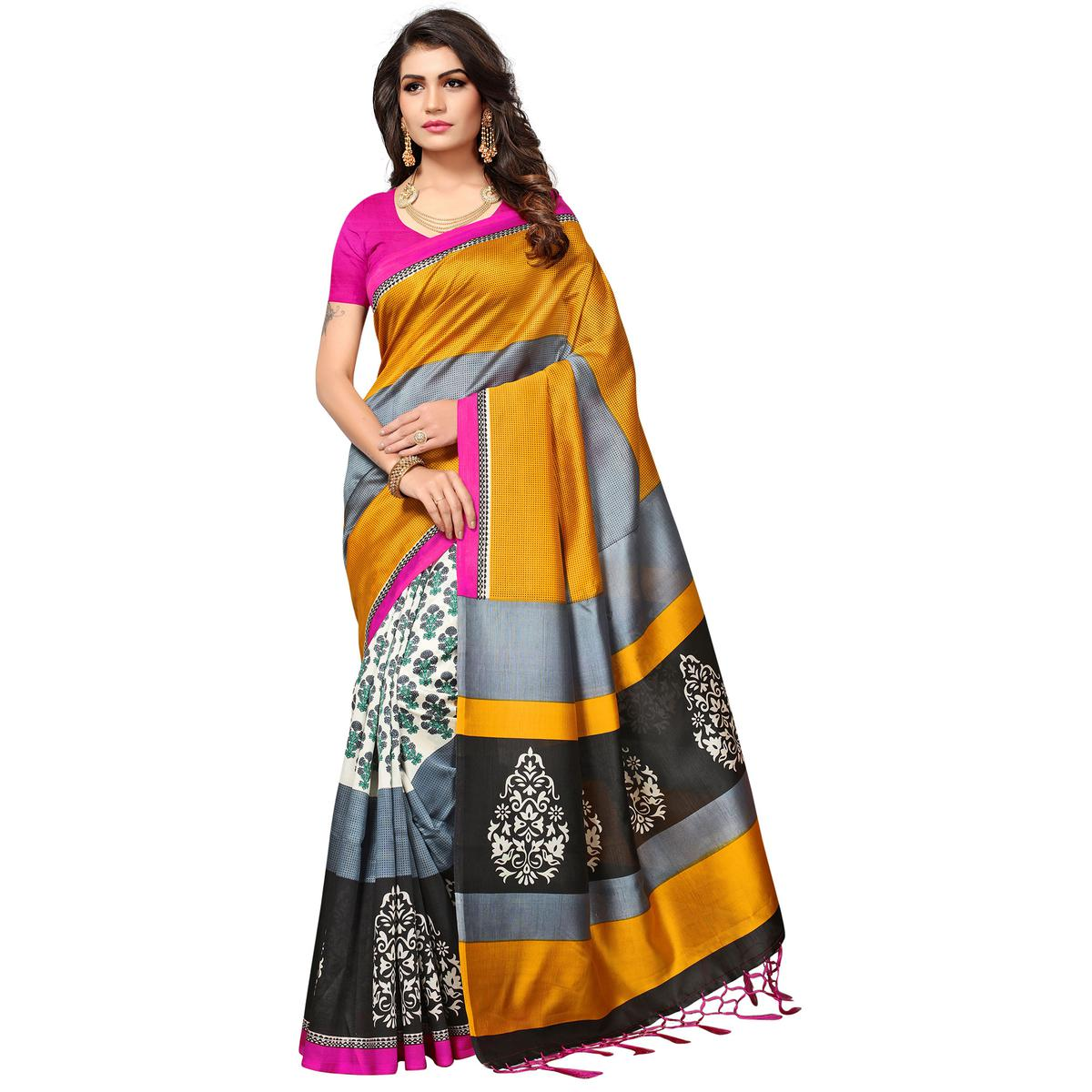 Exciting Multi Colored Festive Wear Printed Mysore Art Silk Half-Half Saree