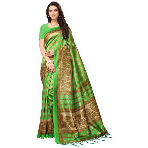 Attractive Green Colored Festive Wear Printed Mysore Art Silk Saree