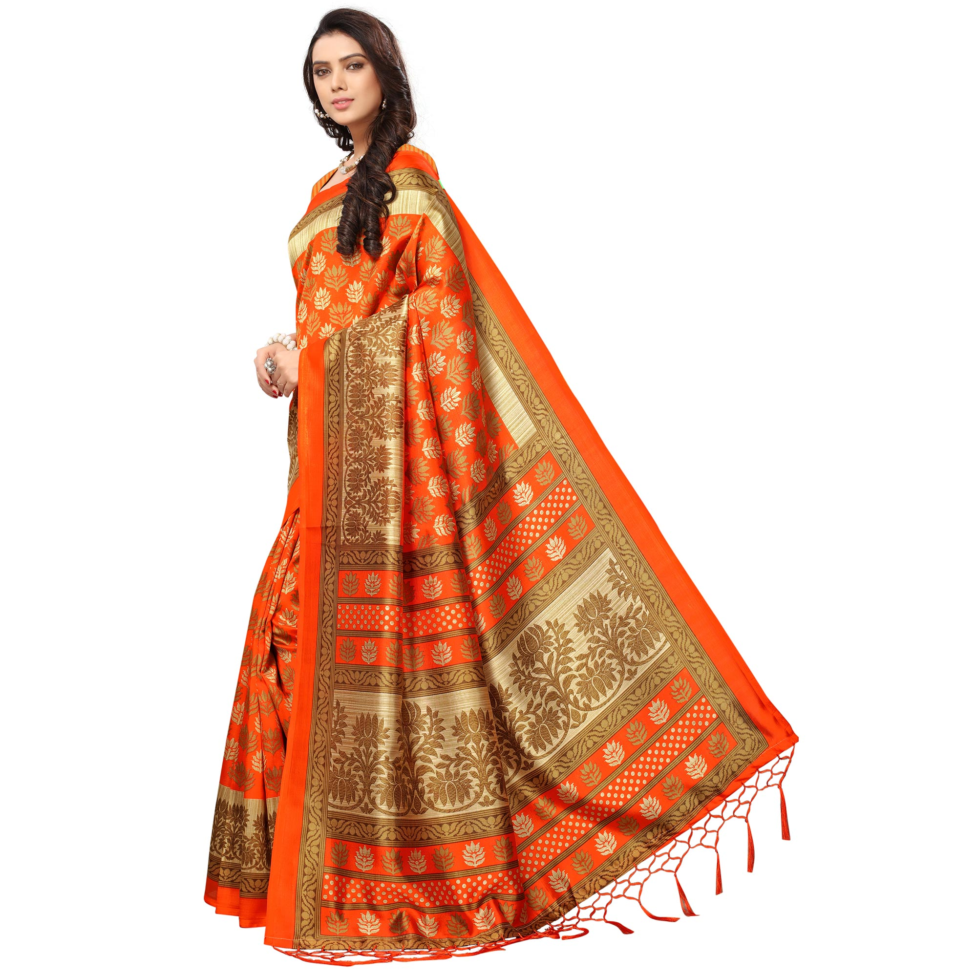Imposing Orange Colored Festive Wear Printed Mysore Art Silk Saree