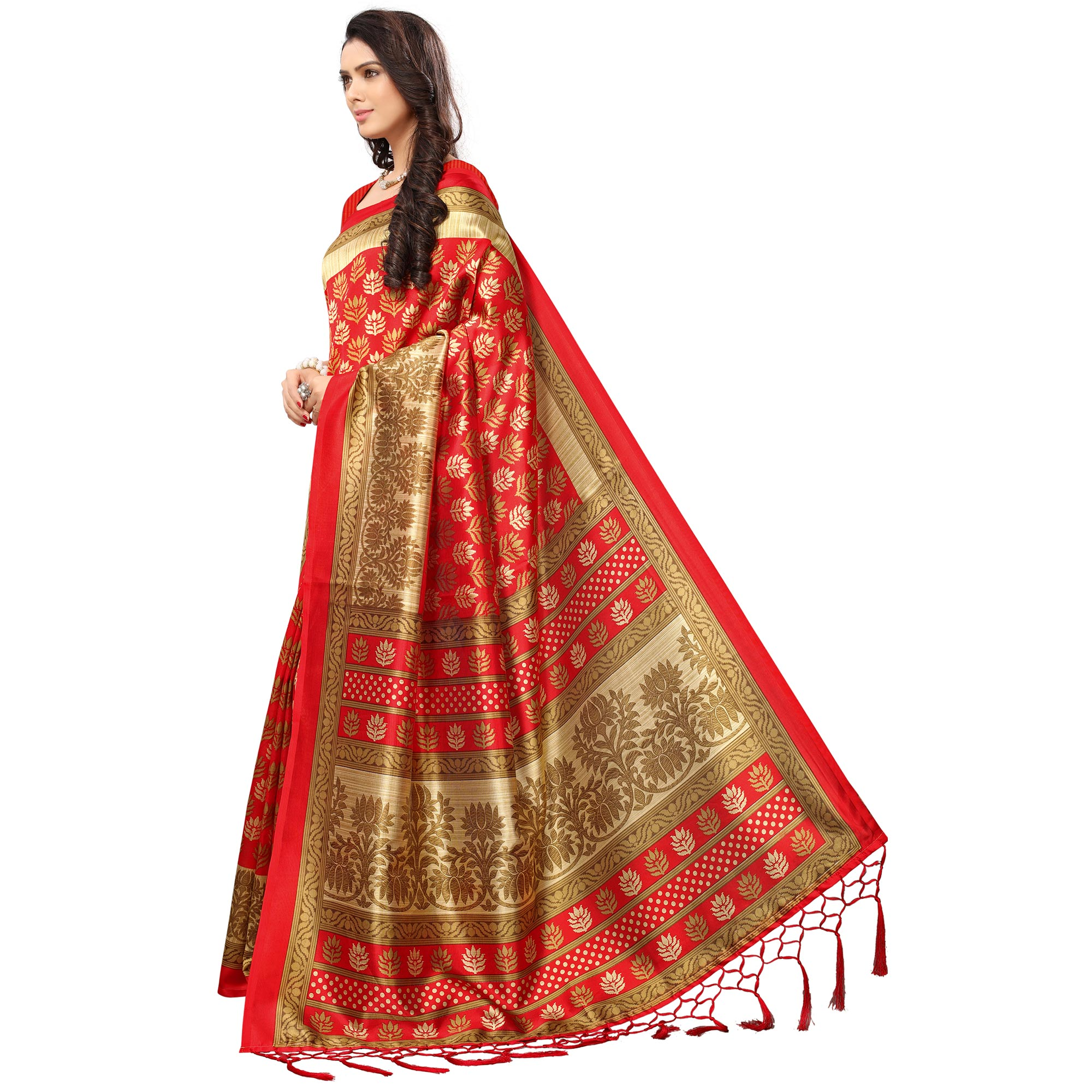 Glorious Red Colored Festive Wear Printed Mysore Art Silk Saree