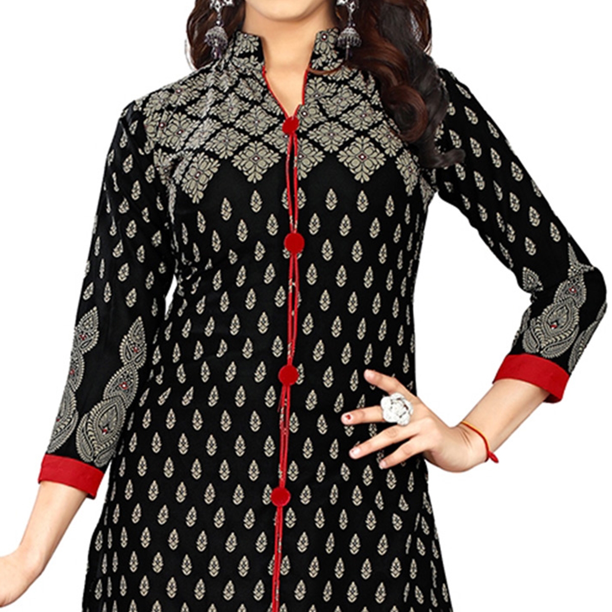 Adorning Black Colored Casual Printed Crepe Dress Material