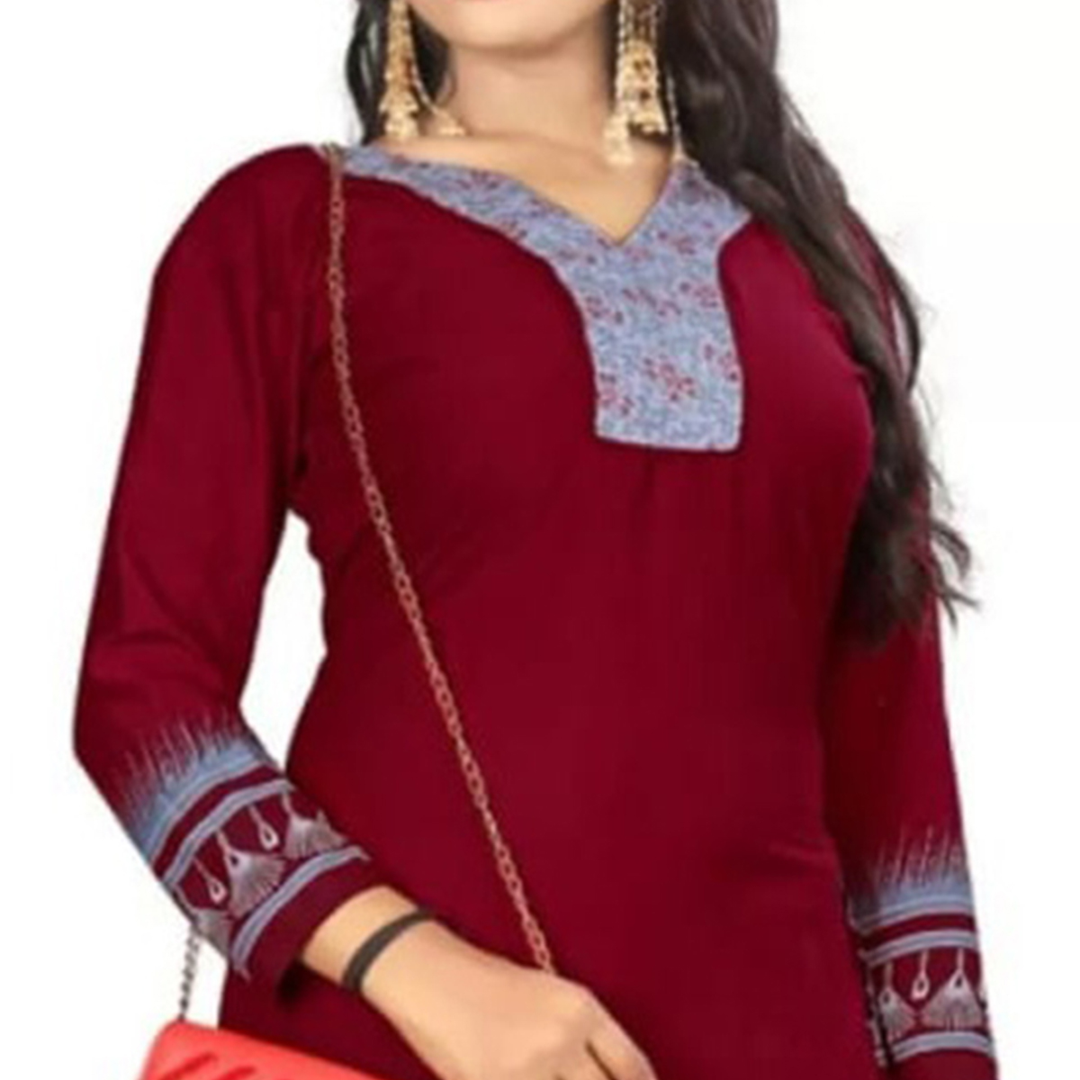 Mesmeric Maroon Colored Casual Printed Leon Dress Material