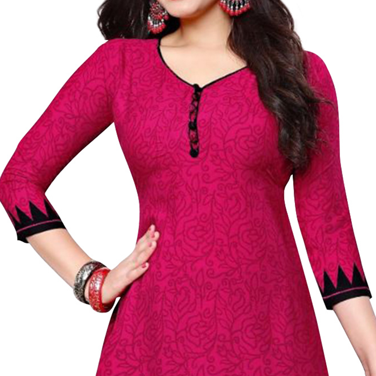 Charming Pink Colored Casual Printed Crepe Dress Material