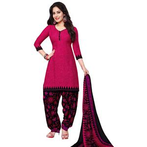 Charming Pink Colored Casual Printed Leon Dress Material
