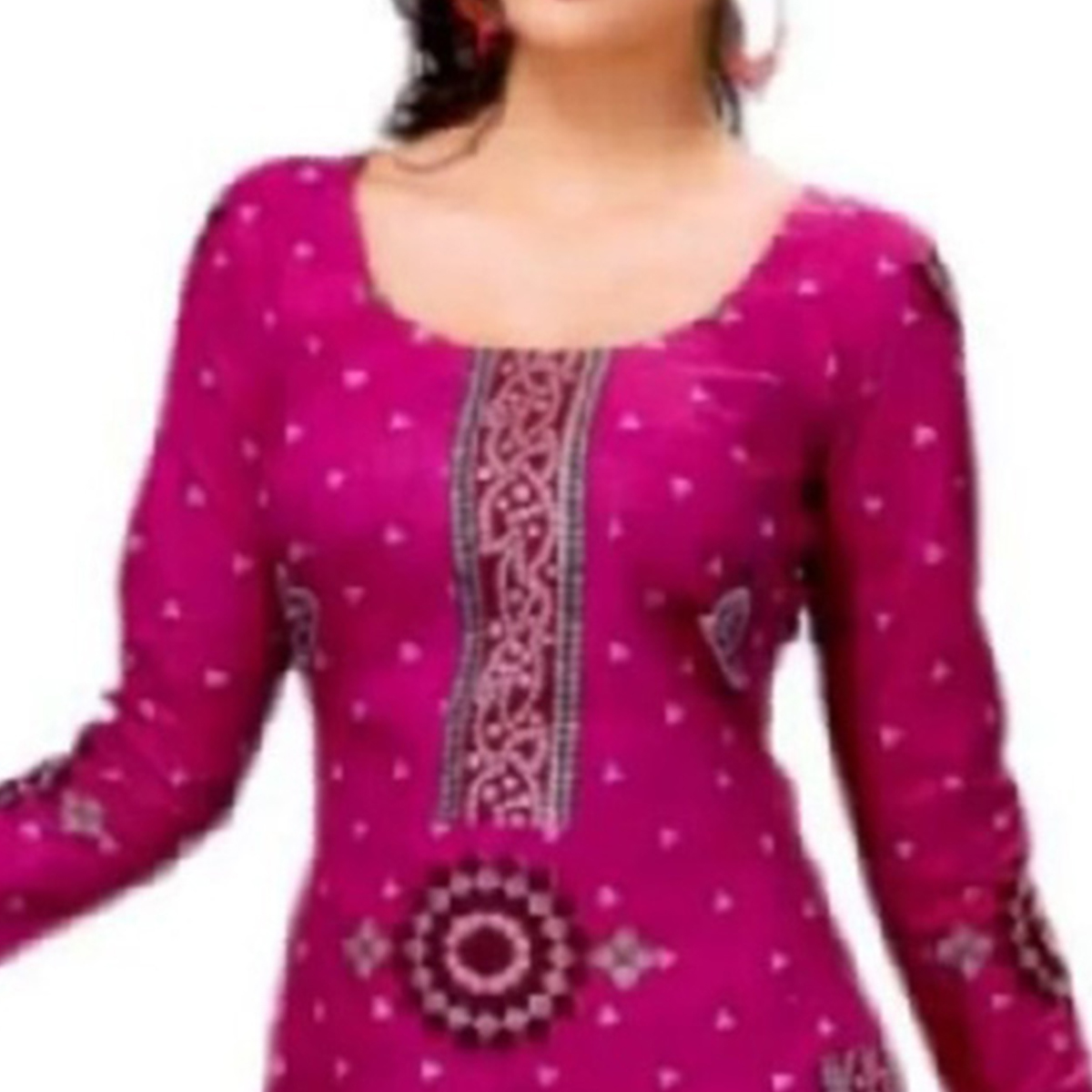 Beautiful Rani Pink Colored Casual Printed Crepe Dress Material