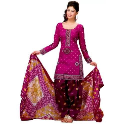Beautiful Rani Pink Colored Casual Printed Leon Dress Material
