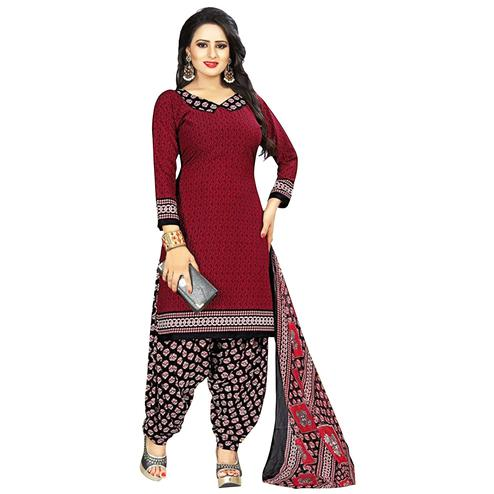 Gorgeous Maroon Colored Casual Printed Crepe Dress Material