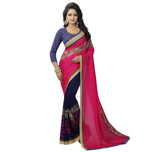 Desiring Pink-Navy Blue Colored Casual Printed Georgette Half-Half Saree