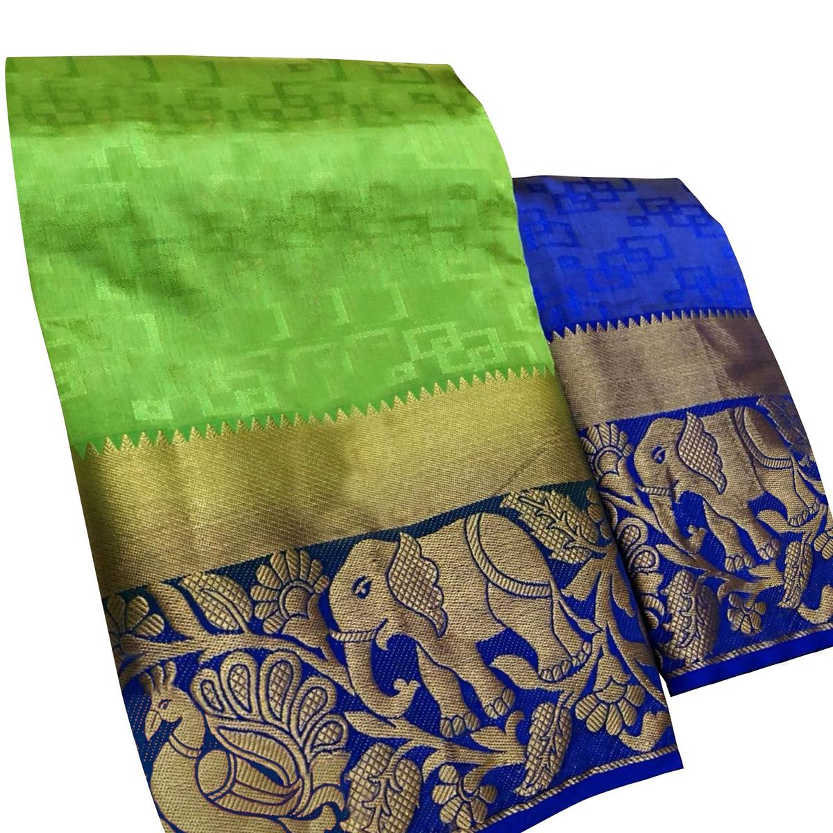 Glowing Green Colored Festive Wear Woven Tussar Silk Saree