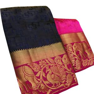 Classy Navy Blue Colored Festive Wear Woven Tussar Silk Saree