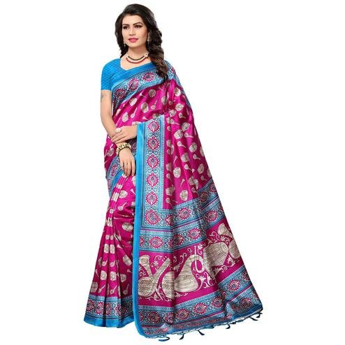 Charming Pink Colored Festive Wear Printed Mysore Art Silk Saree