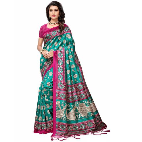 Dazzling Teal Green Colored Festive Wear Printed Mysore Art Silk Saree