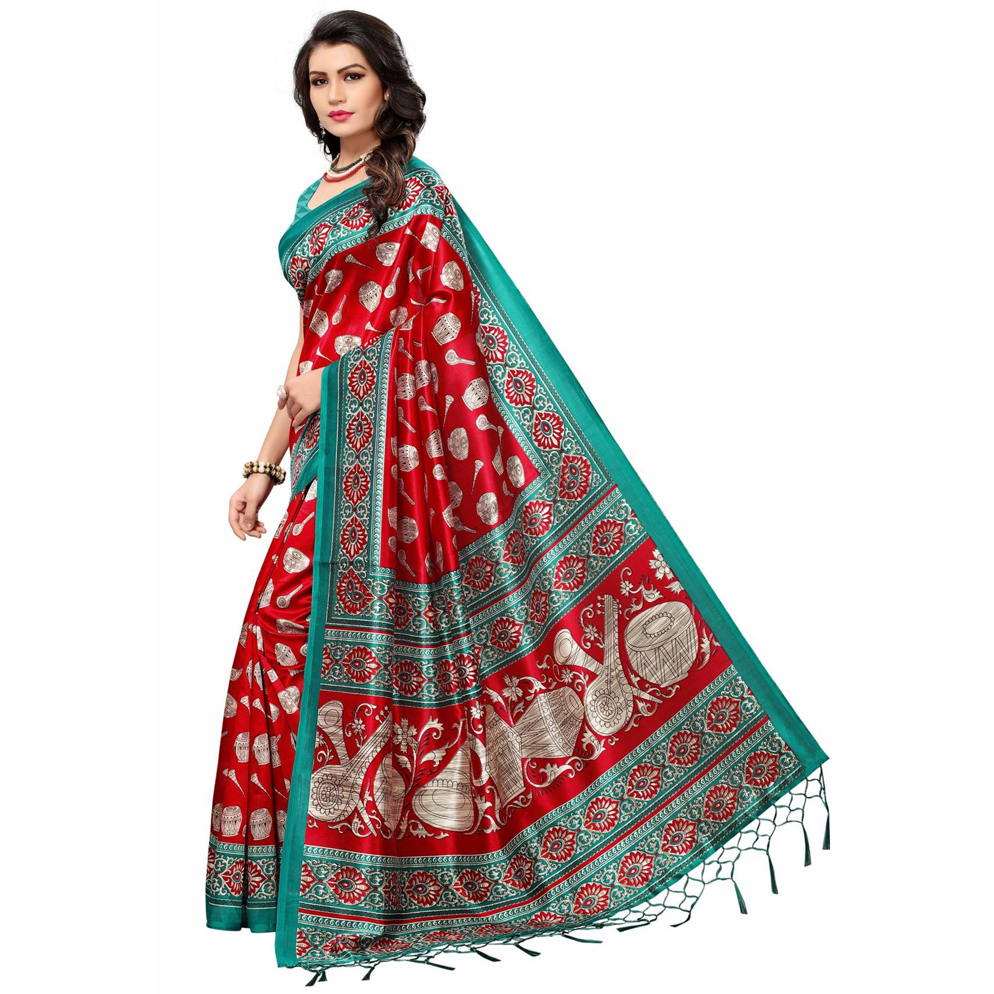 Snazzy Red Colored Festive Wear Printed Mysore Art Silk Saree