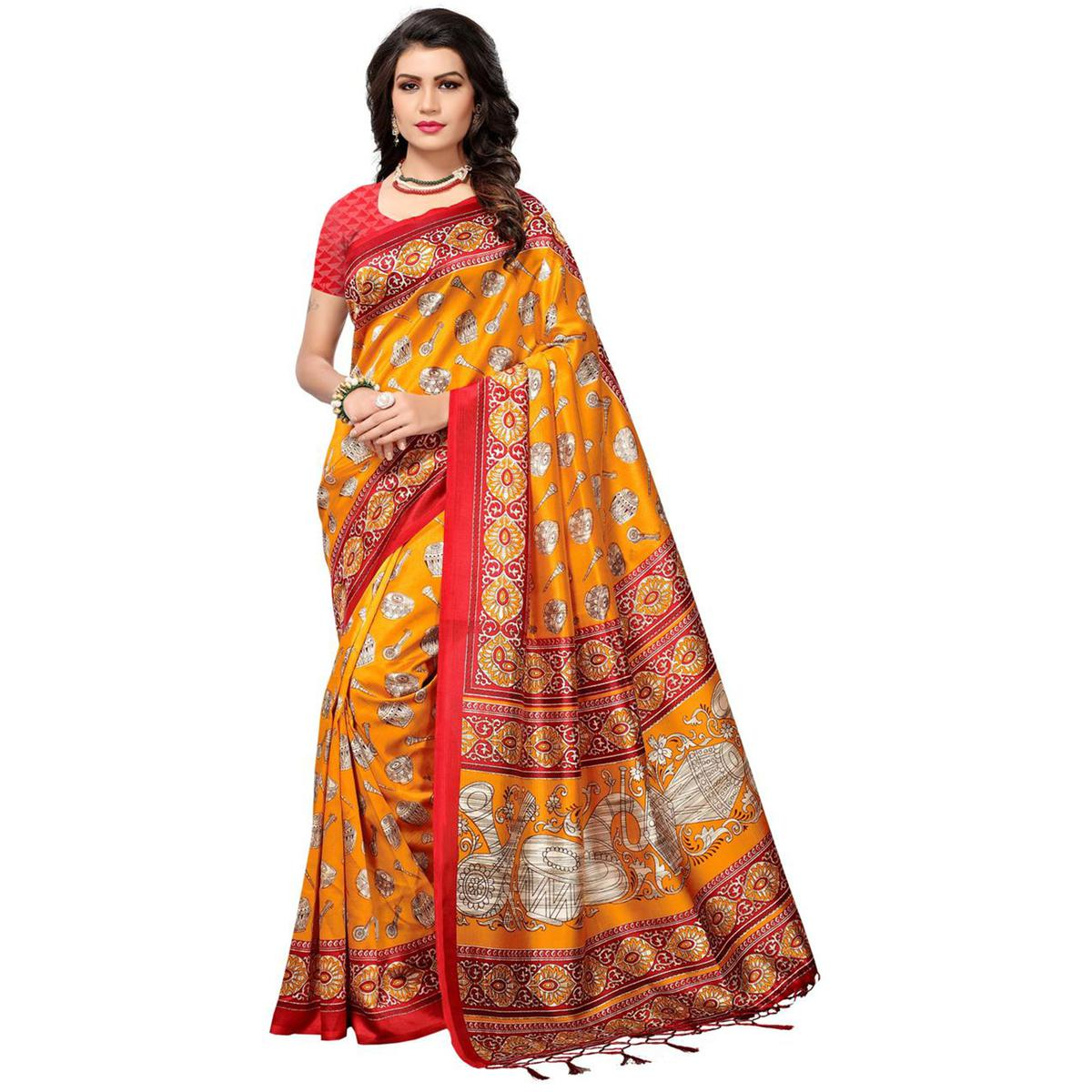 Groovy Yellow Colored Festive Wear Printed Mysore Art Silk Saree