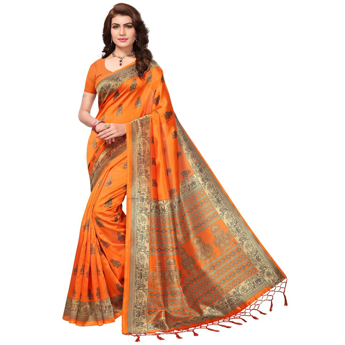 Flawless Orange Colored Festive Wear Printed Mysore Art Silk Saree