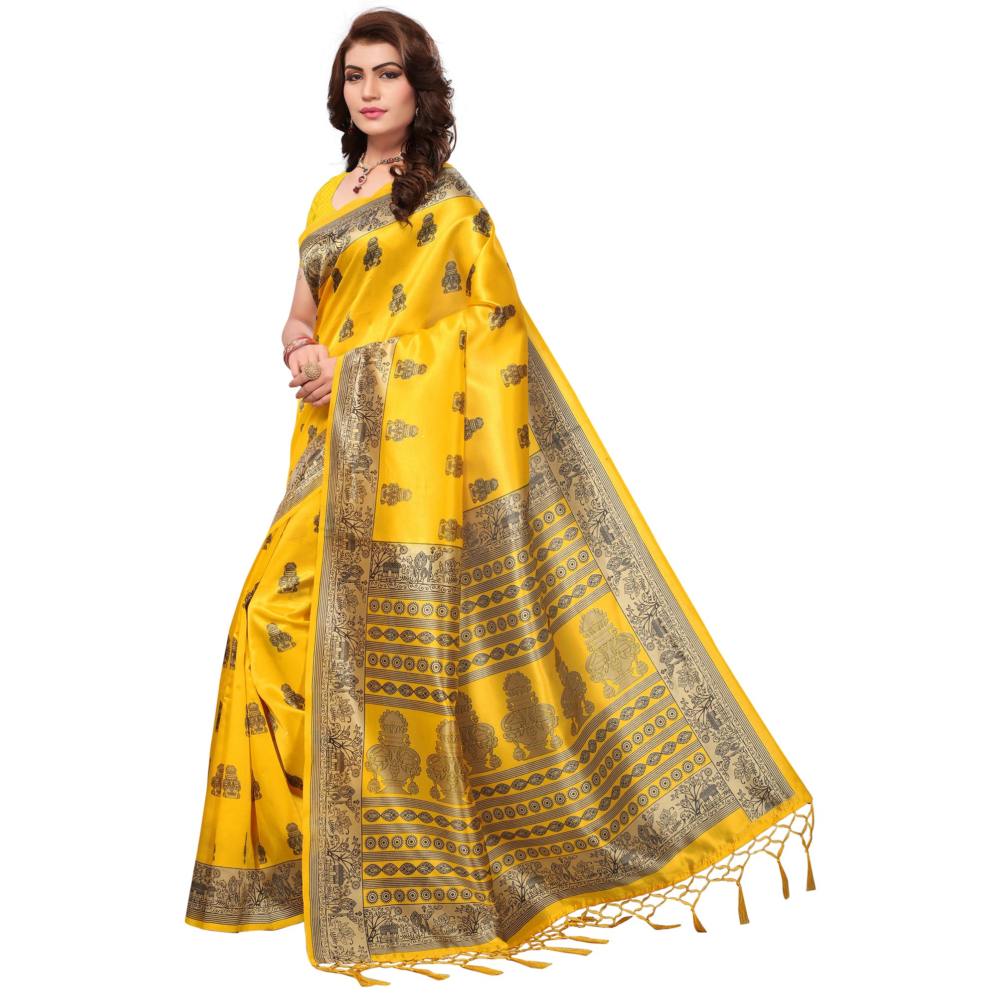 Gleaming Yellow Colored Festive Wear Printed Mysore Art Silk Saree