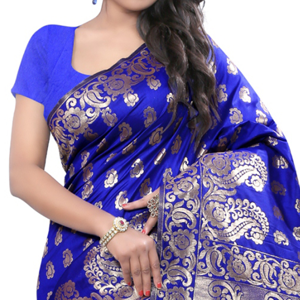 Glowing Blue Colored Festive Wear Banarasi Silk Saree