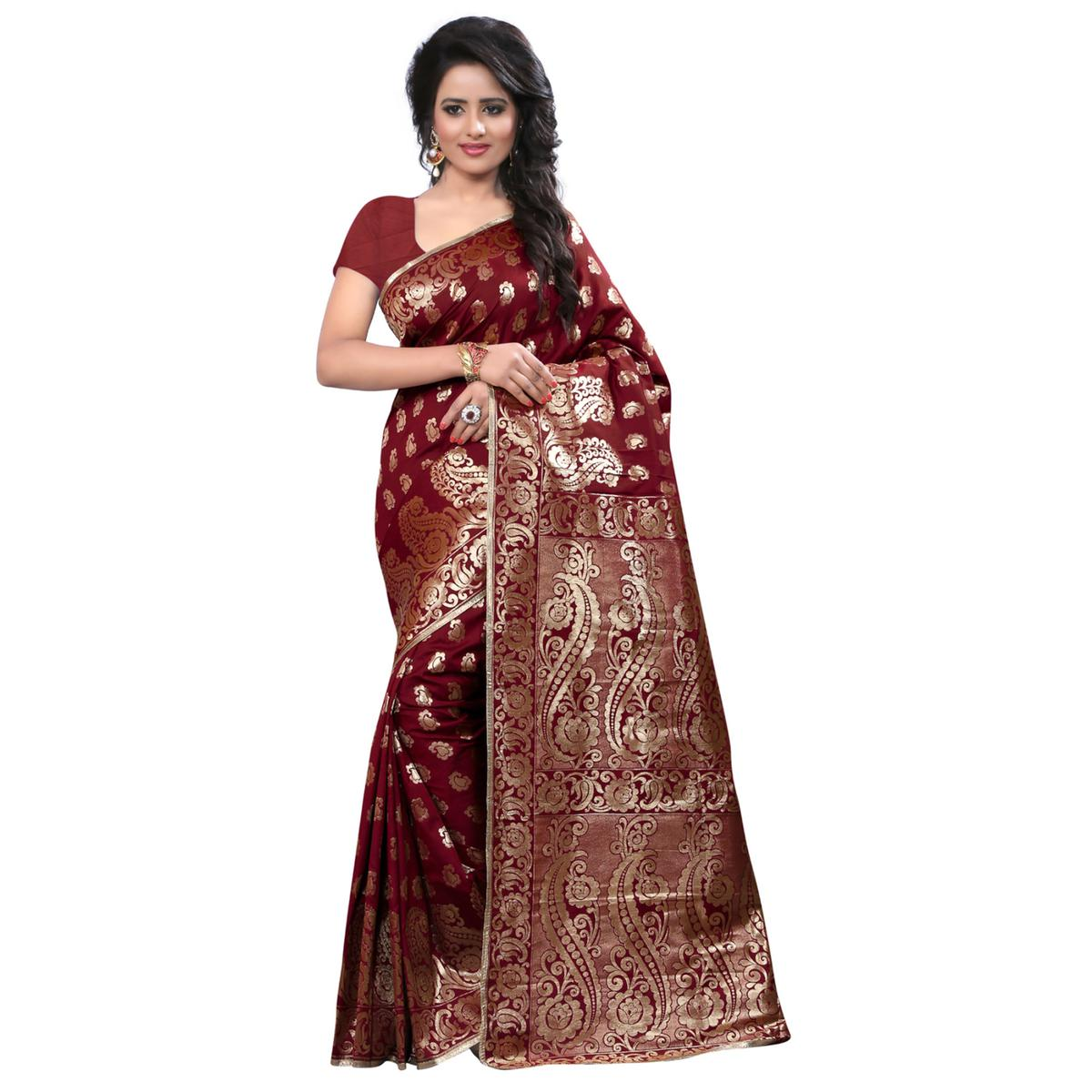 Gorgeous Maroon Colored Festive Wear Banarasi Silk Saree