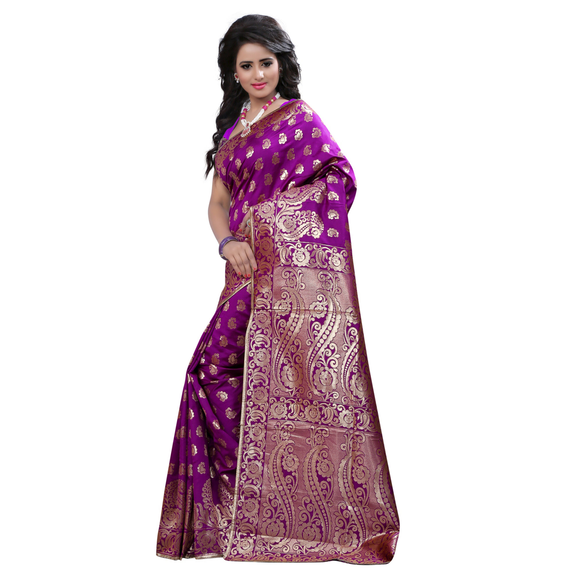 Gleaming Purple Colored Festive Wear Banarasi Silk Saree