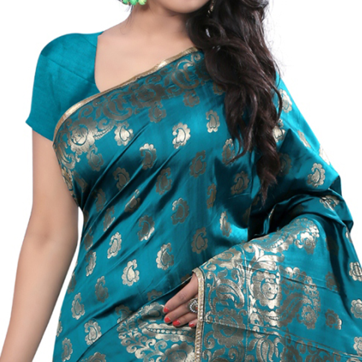 Blooming Rama Colored Festive Wear Banarasi Silk Saree