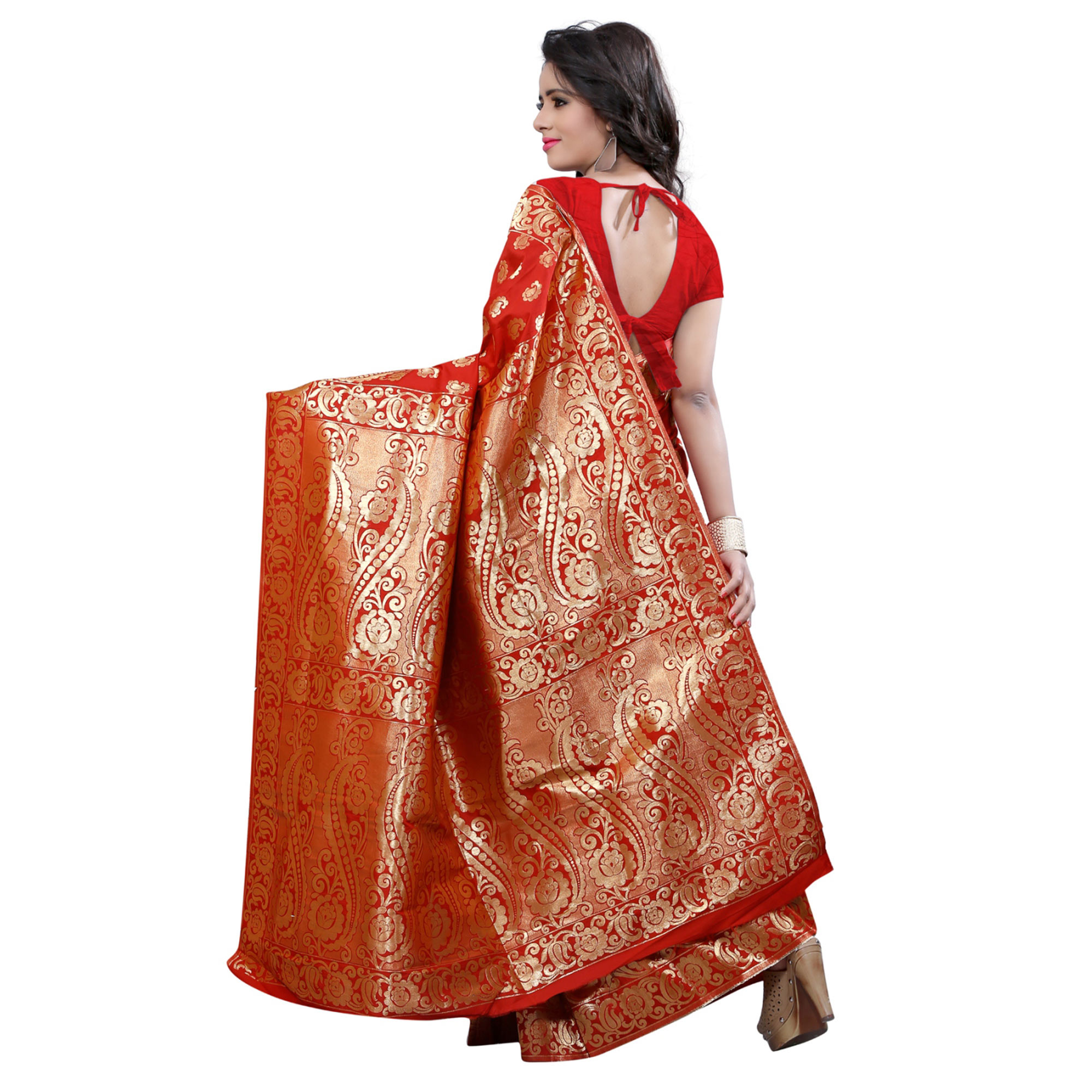 Beautiful Red Colored Festive Wear Banarasi Silk Saree