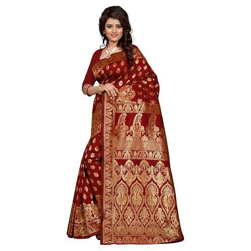 Irresistible Maroon Colored Festive Wear Banarasi Silk Saree