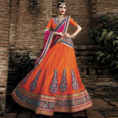 Orange - Rani Pink Net Lehenga Saree