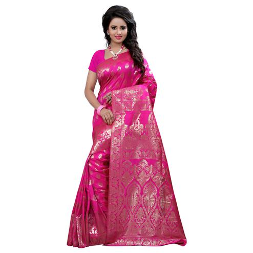 Charming Pink Colored Festive Wear Banarasi Silk Saree