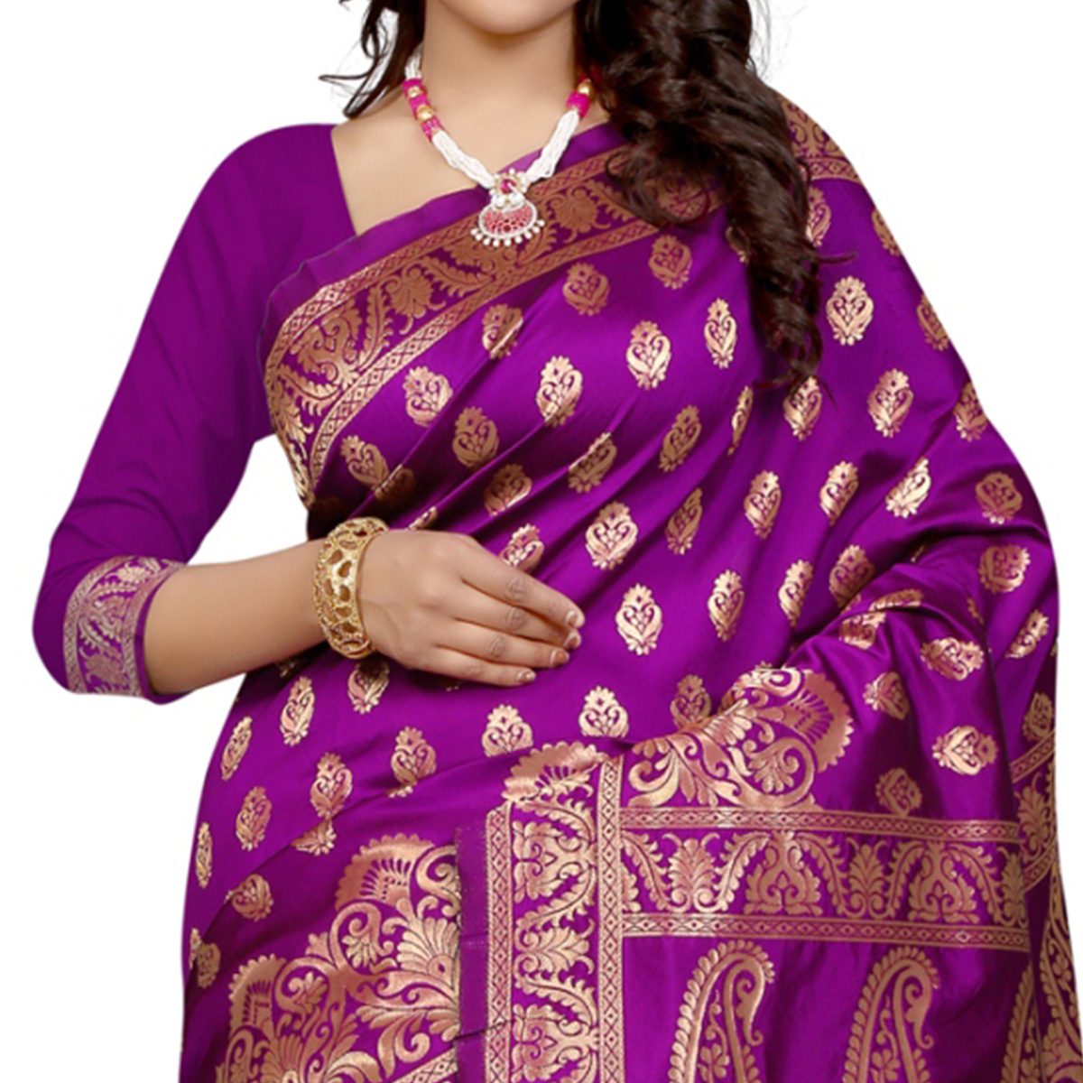Pretty Purple Colored Festive Wear Banarasi Silk Saree