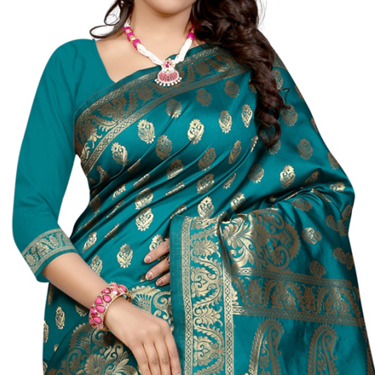 Unique Rama Colored Festive Wear Banarasi Silk Saree
