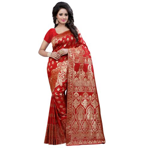 Traditional Red Colored Festive Wear Banarasi Silk Saree