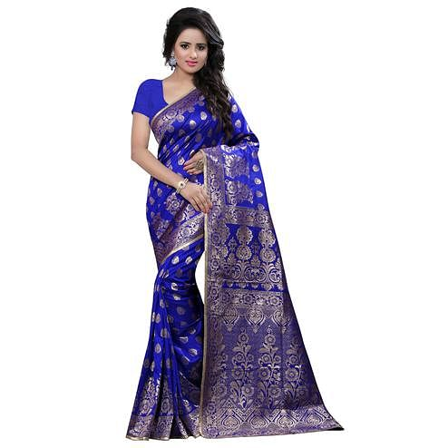 Demanding Blue Colored Festive Wear Banarasi Silk Saree