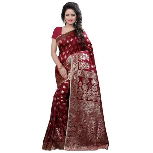 Surpassing Maroon Colored Festive Wear Banarasi Silk Saree