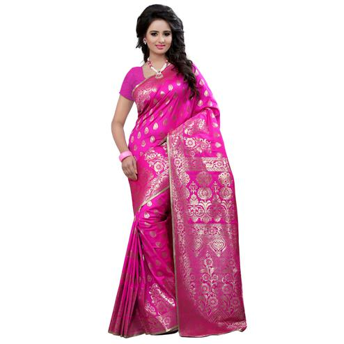 Opulent Pink Colored Festive Wear Banarasi Silk Saree