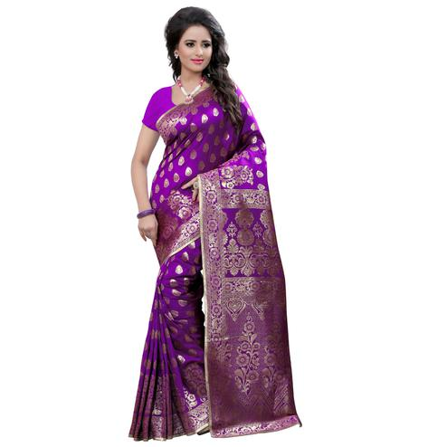 Attractive Purple Colored Festive Wear Banarasi Silk Saree