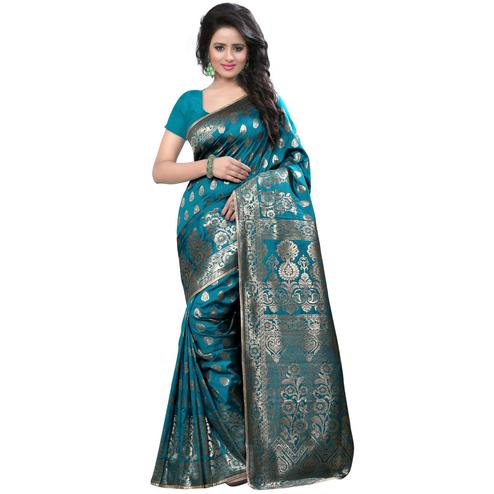 Eye-Catching Rama Colored Festive Wear Banarasi Silk Saree