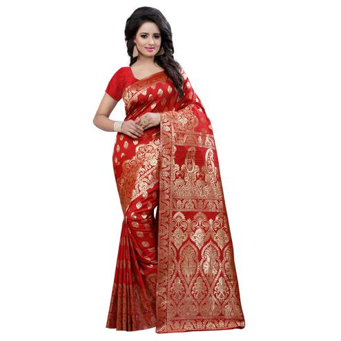 Staring Red Colored Festive Wear Banarasi Silk Saree