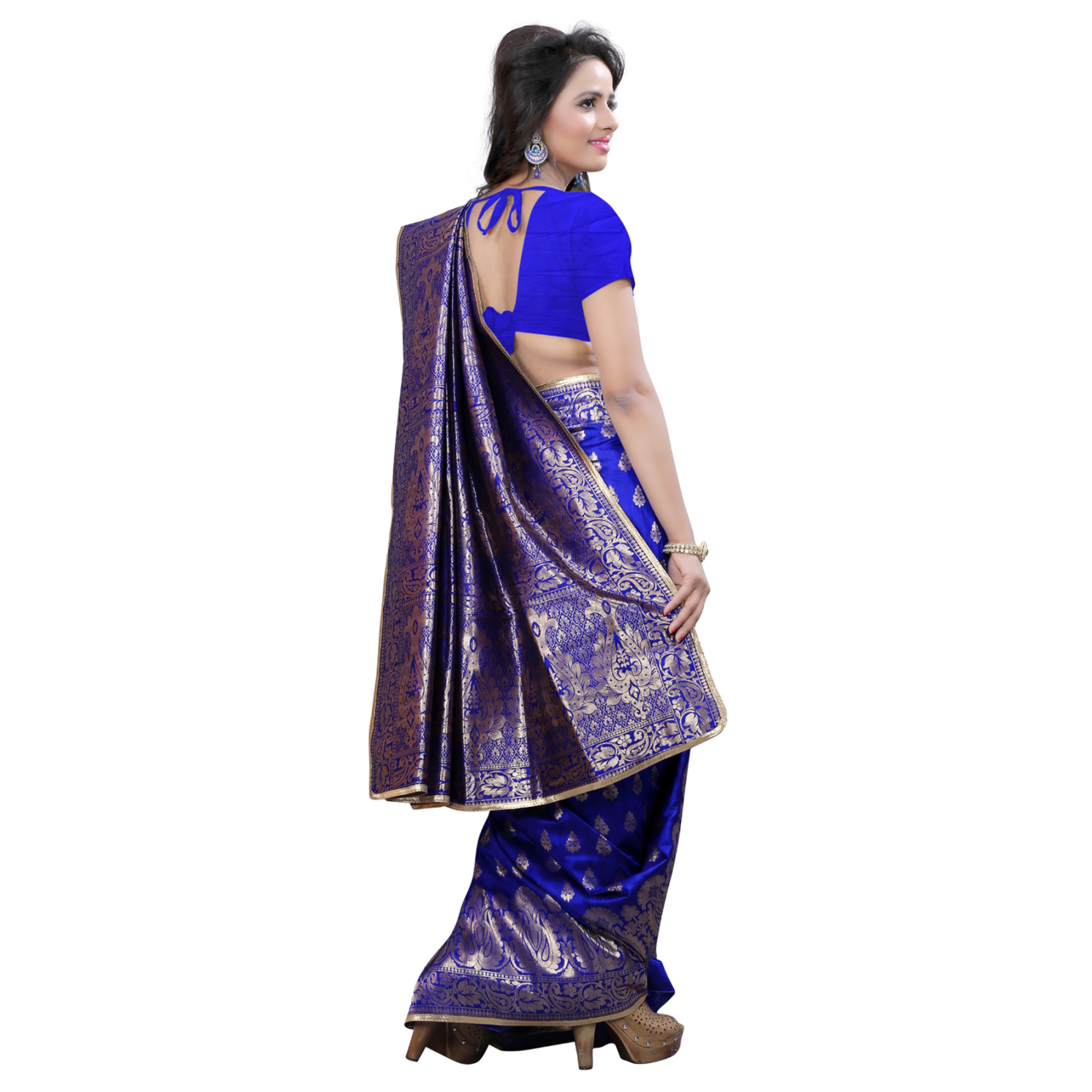 Imposing Blue Colored Festive Wear Banarasi Silk Saree