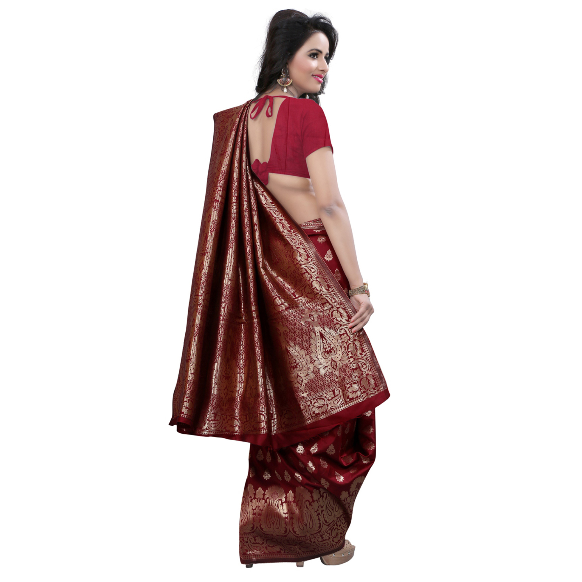 Jazzy Maroon Colored Festive Wear Banarasi Silk Saree