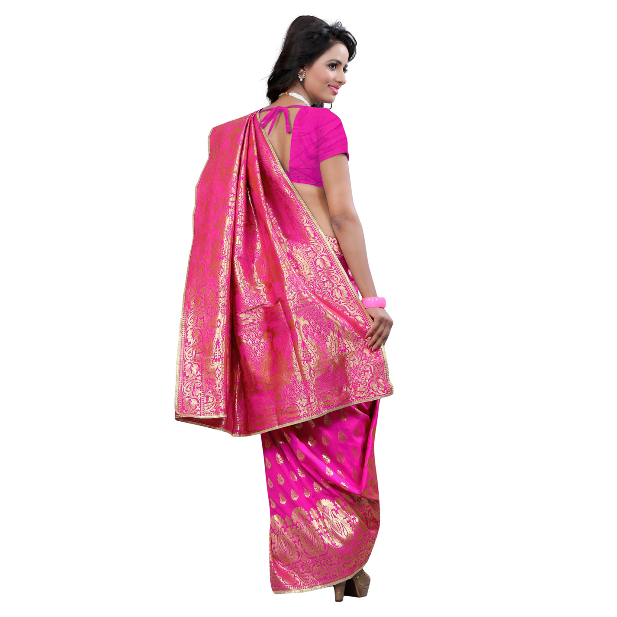 Classy Pink Colored Festive Wear Banarasi Silk Saree