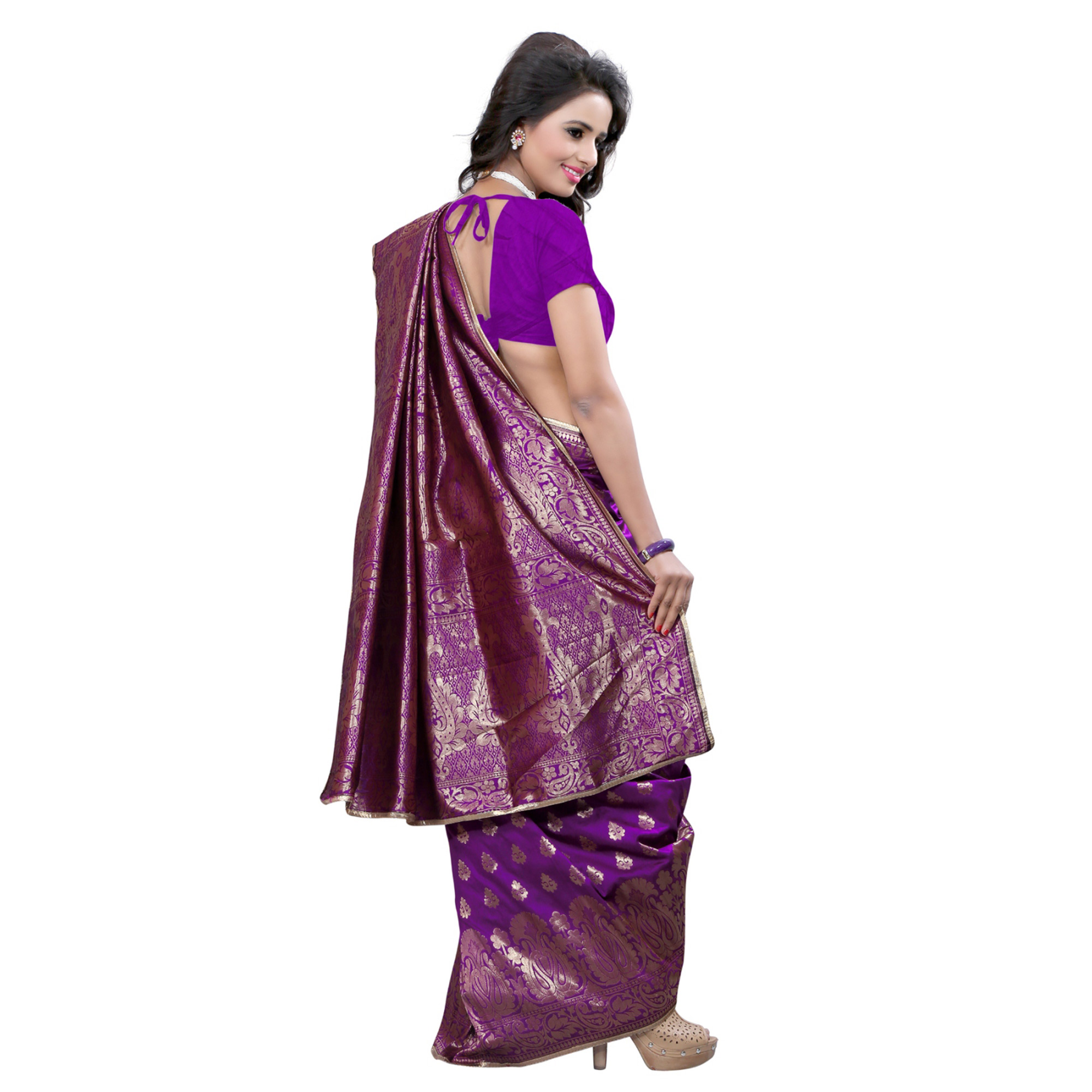 Perfect Purple Colored Festive Wear Banarasi Silk Saree